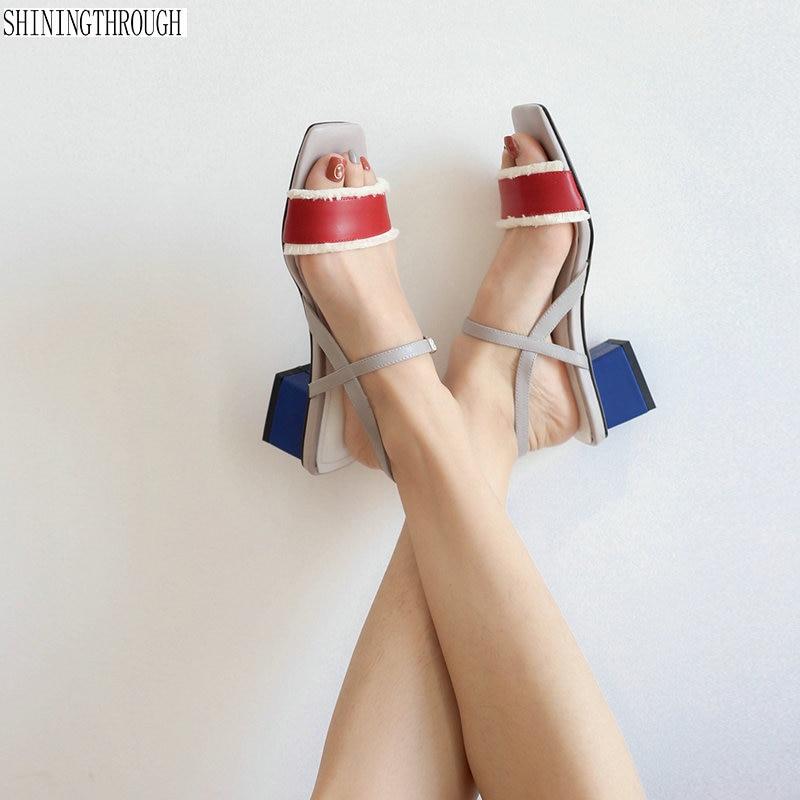 Women med Heels Sandals Summer genuine leather girl s Sandals Office Daily Shoes Woman Footwearsbeige blue