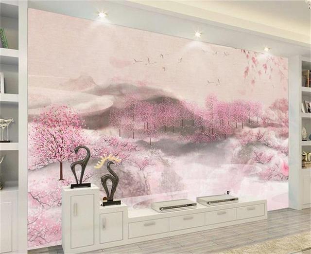 Behang Voor Kinderkamer : Custom d foto behang kinderkamer mural mooie perzik bloemen