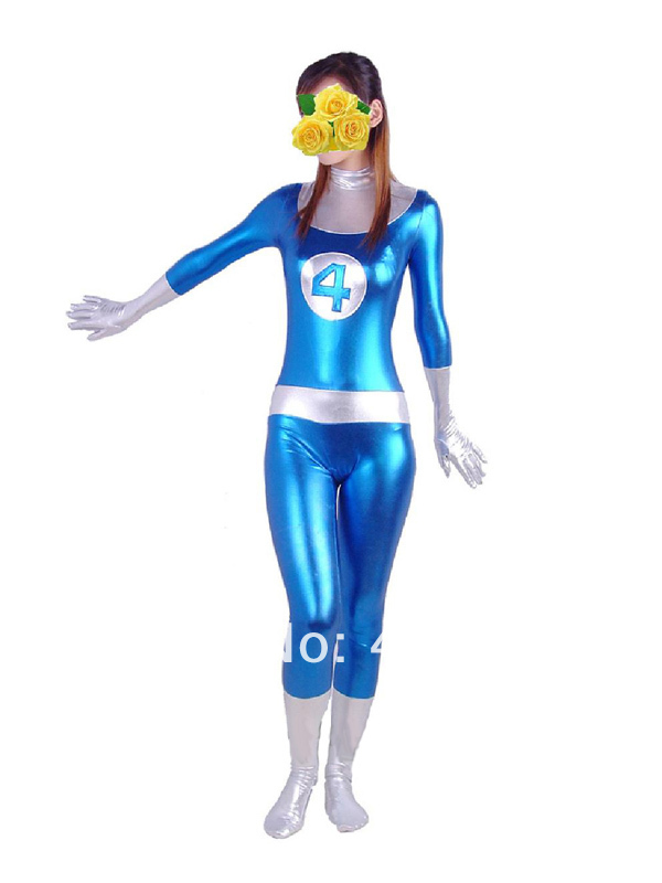 Blue & White Fantastic Four Shiny Metallic Mr. Fantastic Superhero Costume Halloween Carnival costumes play