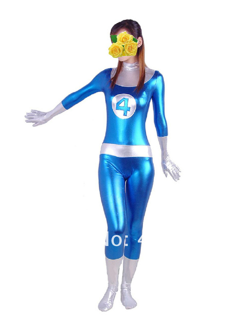 Blue & White Fantastic Four Shiny Metallic Mr. Fantastic Superhero Costume  Halloween Carnival costumes play