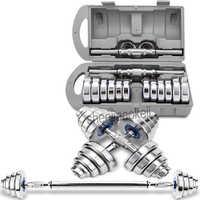 Steel Dumbbell 20kg Home Men dual-plating pure steel dumbbell barbell 2 in 1 design  Sports Equipment  1pc