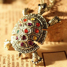 Vintage Alloy Turtle Pendant Necklace Inlay Rhinestone Long Chain Sweater Necklaces Jewelry Gifts For Women Girls M8694