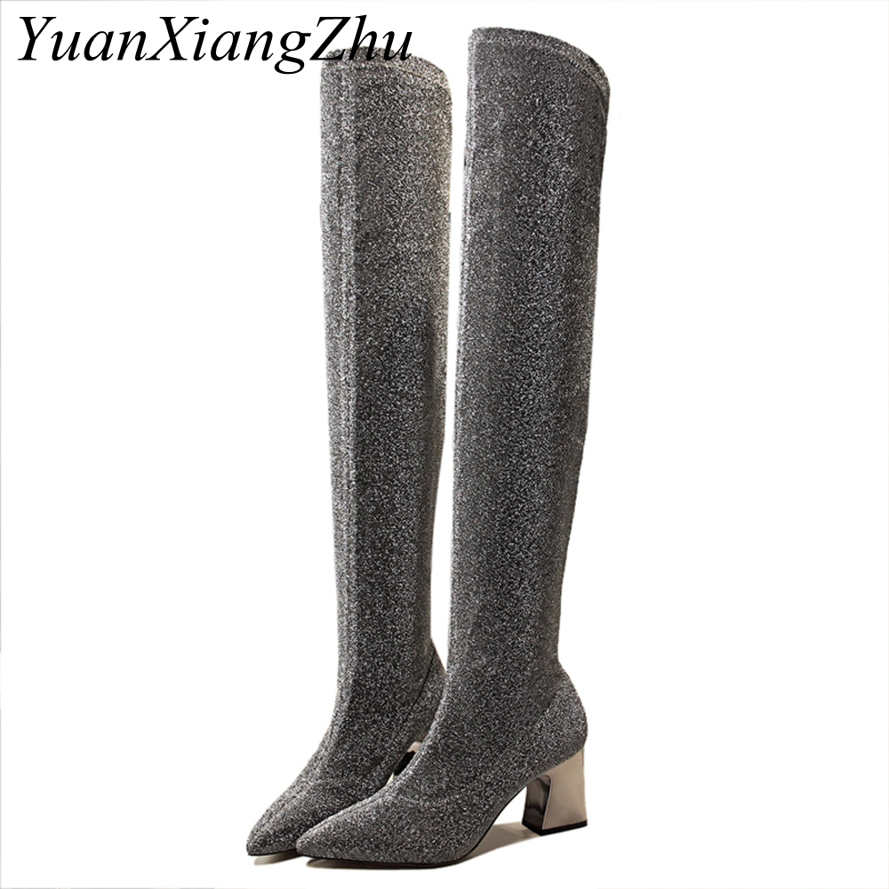 Women Boots 2018 Fashion Shiny Over The Knee Boots Women's Pointed Toe Metal Square Heel High Heel Shoes Lady Warm Winter Boots цена 2017
