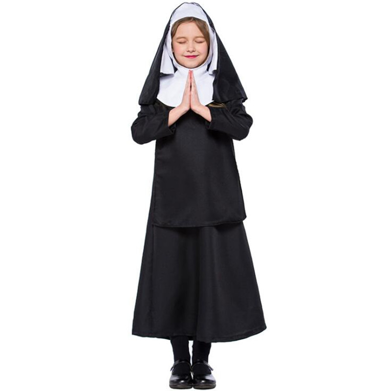 Children Virgin Mary Nuns Dress for Kid Girl Nuns Arabic Religion Monk Ghost Costume Halloween Party cosplay Uniform