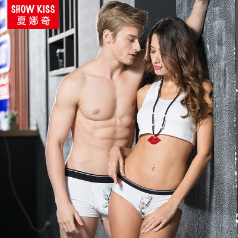 2017 New Cotton White Couple Underwear Men And Women