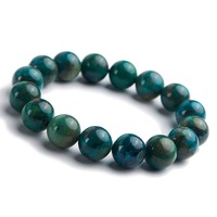 Precious Jewelry Bracelet Natural Stone Malachite Chrysocolla Crystal Gems Round Beads Stretch Bracelets For Men Women