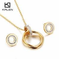 Kalen moda barato joyería conjunto oro color acero inoxidable colgante redondo collar y Pendientes Conjunto para las mujeres regalos de la Amistad 2018