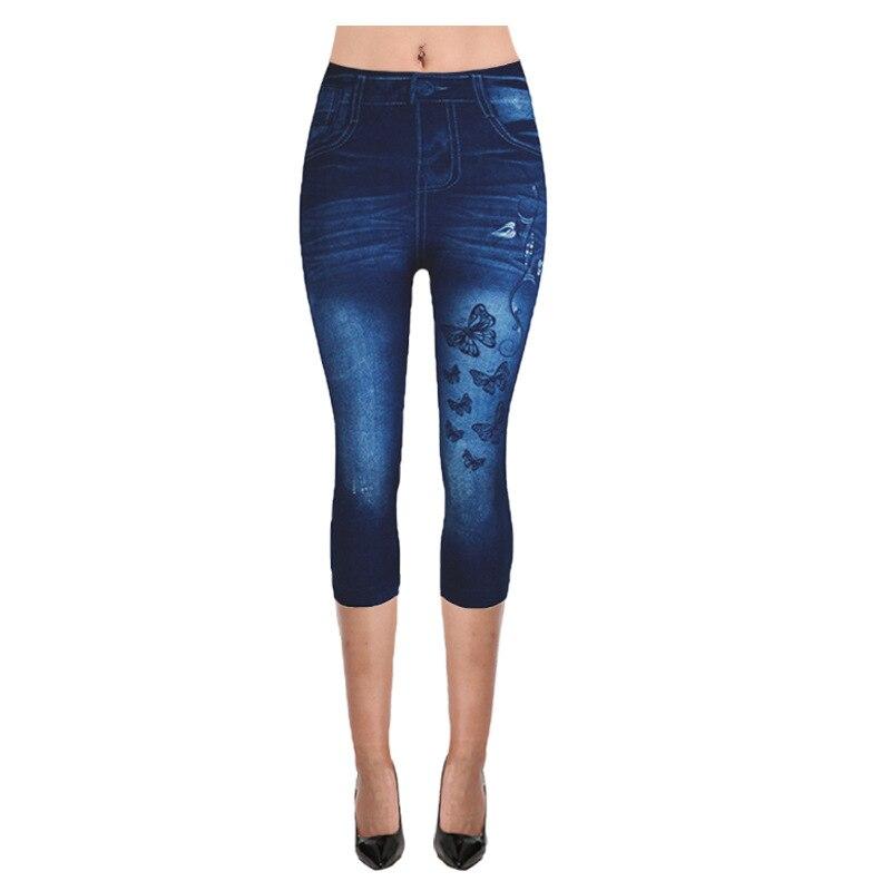 Leggings Trousers Pants Cropped Slim High-Waist Female Plus-Size Women Denim Mock Imitation
