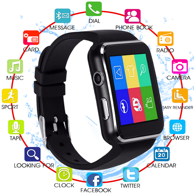 Bluetooth Smart Watch X6 Sport Passometer Smartwatch With Camera Support SIM Card Whatsapp Facebook For Android Phone PK Z60 H8
