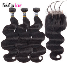 Fashion Lady Pre-colored Malaysian Human Hair Extensions With Closure 1b BodyWave Bundles 3Pcs With Closure Three Part Non-remy(China)