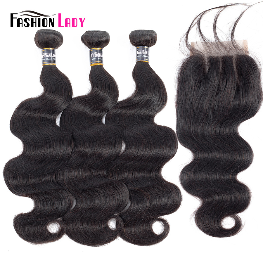 Fashion Lady Pre-colored Malaysian Human Hair Extensions With Closure 1b BodyWave Bundles 3Pcs With Closure Three Part Non-remy