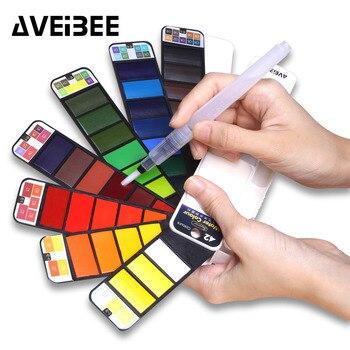 Farby 18/25/33/42 kolory stałe zestaw akwareli z pędzel długopis przenośne wody kolor dla szkolne artykuły artystyczne piśmienne