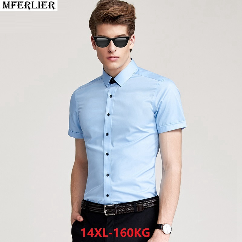 summer big plus size men formal dress shirt large size wedding short sleeve  office work shirt 4d1c46f07d77