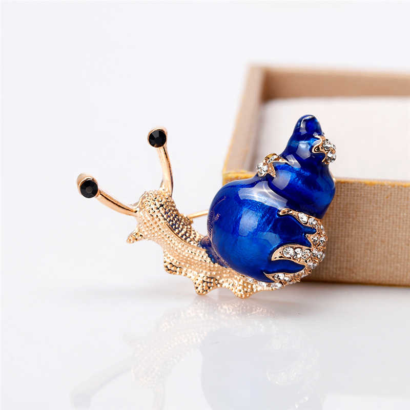 Berlian Imitasi Siput Pin Bros Lucu Serangga Pin dan Bros untuk Wanita Kerang Hewan Perhiasan Enamel Logam Pin Dress Syal Bros