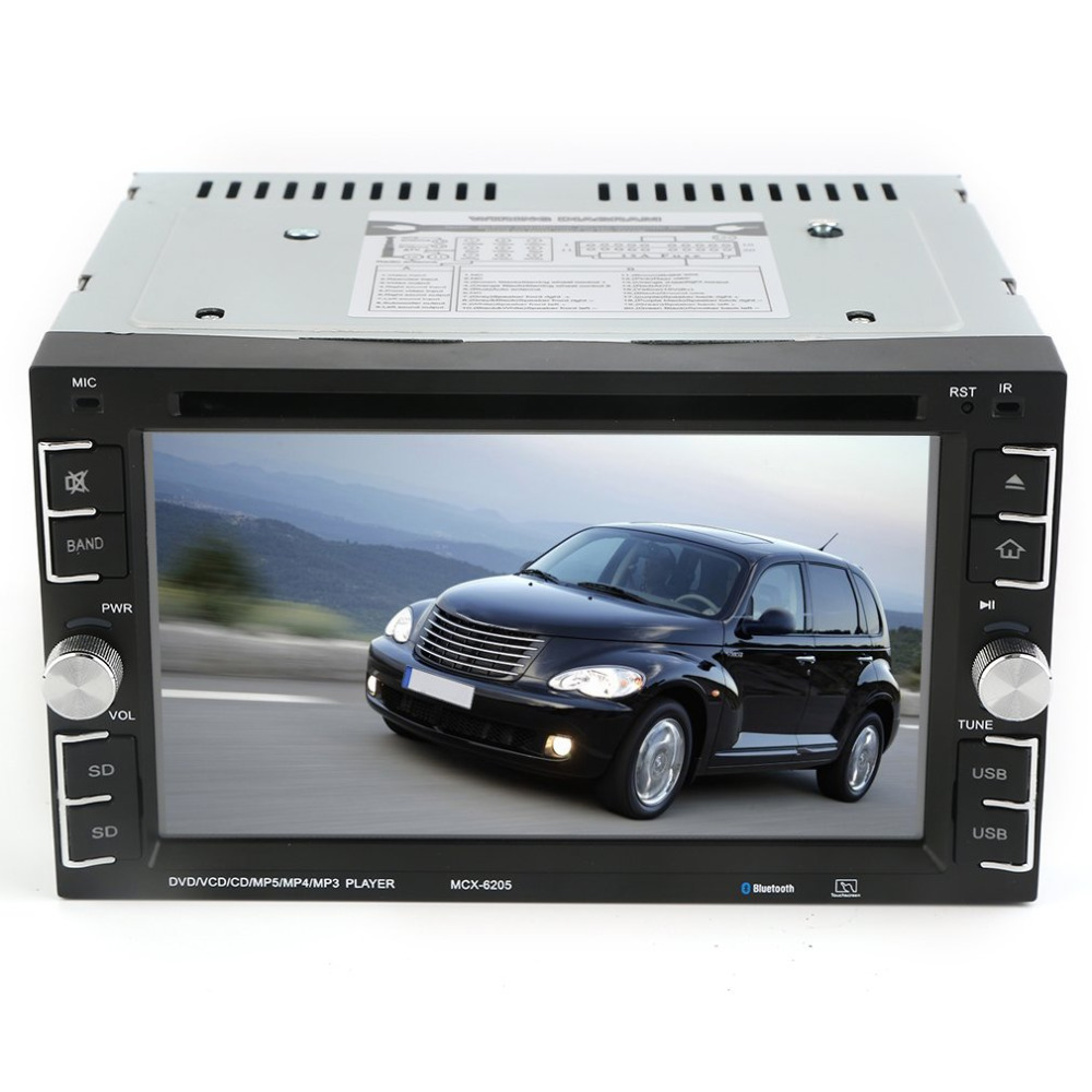6205 Double 2Din 6.2 Inch Car Stereo DVD CD MP3 Player In Dash Bluetooth For Ipod Auto HD TV Radio Video Audio Camera Parking 2 din car dvd frame dashboard kits front bezel radio frame adaper dvd cover dash trim kit for kia rio 5 door rhd double din