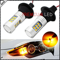 2pcs No Resistor Required Amber Yellow 21-SMD 7440 T20  LED Bulbs For Car Front or Rear Turn Signal Lights (No Hyper Flash)