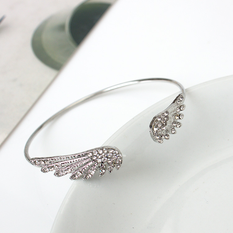 Angel Wings Bracelet Adjustable Woman Riding Bike Jewelry Gifts Open Bracelet Silver Plated Crystal Wholesale Spacecraft image