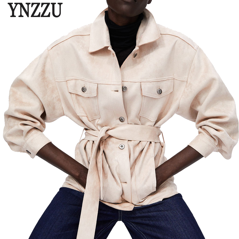 YNZZU 2018 New Arrival Women Autumn Winter   Suede   Faux   Leather   Jacket Casual Sashes Loose Streetwear Coat Women Outwears YO652