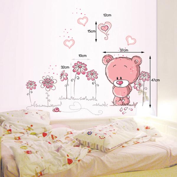 Cartoon Pink Teddy Bear Wall Sticker