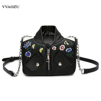 New Fashion Creative Women Shoulder Bag Jacket Coat Cloth Shaped 3D Chain Messenger Bags Floral Embroidery