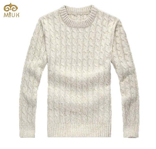 92480de2fc96b5 MIUK Cable Needle Fashion Design Men Sweater O Neck Loose Large Size XL XXL Men s  Pullover Sweaters Thick Apricot Blue 2017 New