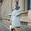 INU069 New Arrival 2016 moda casual cintura ajustável de algodão acolchoado com capuz de pele de grandes dimensões solto casaco longo inverno mulheres