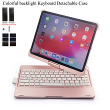 Untuk iPad Pro 11 ''Putar Colorful Backlight Wireless Bluetooth Keyboard Case Cover untuk iPad Pro 11 Inch Abs + PC Fundas(China)