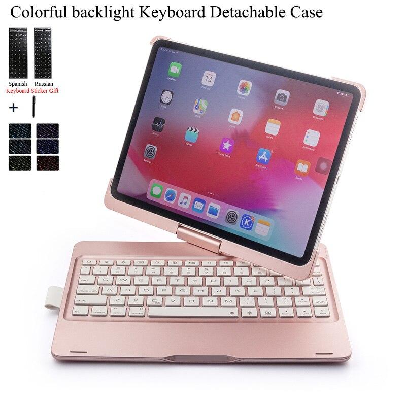 Pour iPad Pro 11 ''rotation coloré rétro-éclairage sans fil étui pour clavier bluetooth couverture pour iPad Pro 11 pouces ABS + PC Fundas