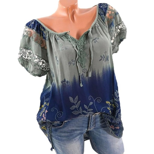 7c5bb51b48840 Plus Size 5XL Women Summer Short Sleeve V Neck Floral Print Loose Tops  Blouses Casual Lace Fashion Tops Shirts Blouses-in Blouses & Shirts from ...