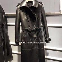 Двубортная куртка из натуральной овечьей кожи с поясом