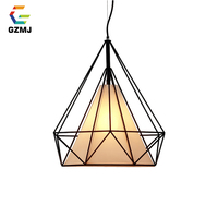 GZMJ Modern Metal Pendant Lights Loft Decor Iron Wire Cage E27 Hanglamp Black/White Industrial Hanging Lamp LED Lamp