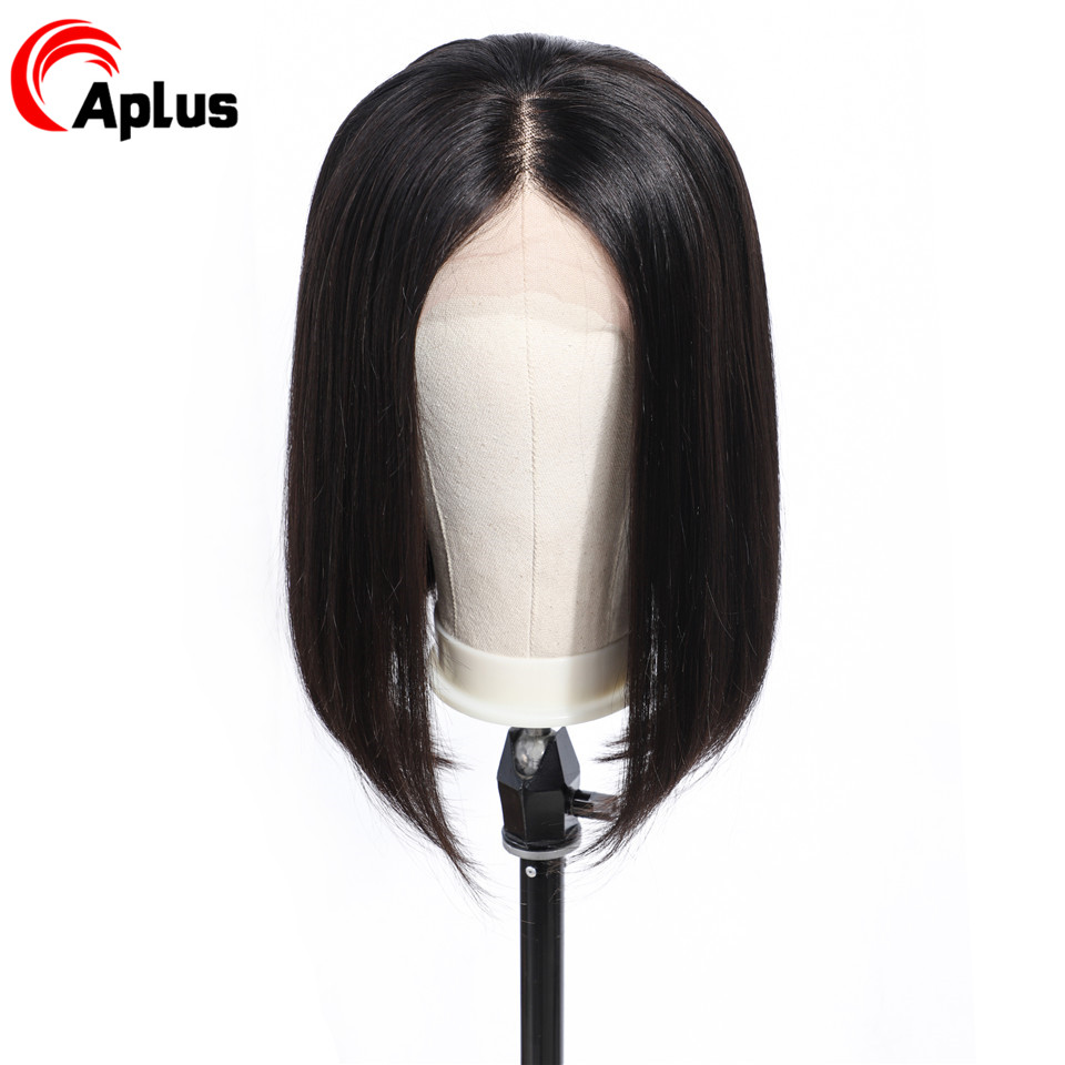 Aplus Hand Tied Short Wig Human Hair For Black Women Straight Remy Hair Bob Lace Front Wigs Black Malaysian Lace Front Wigs