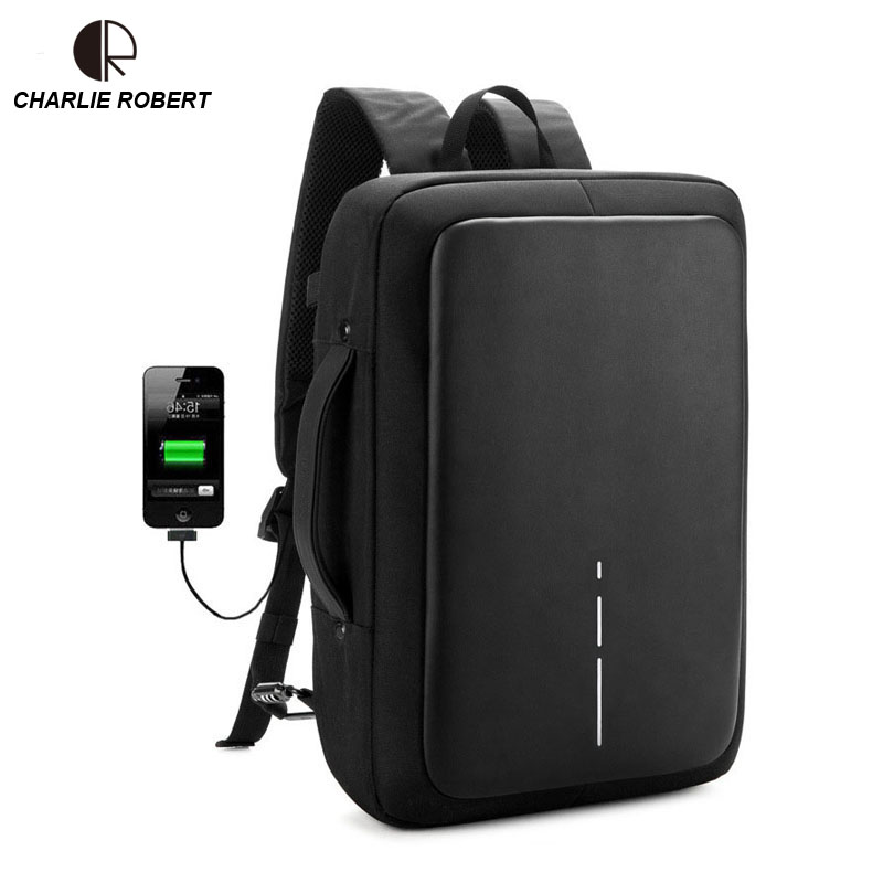 2019 New Anti-thief USB Recharging Men Backpack NO <font><b>Key</b></font> <font><b>TSA</b></font> Lock Design Men Business Fashion Message Backpack Travel image