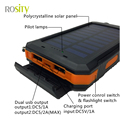 ROSITY  New Portable Solar Power Bank Real 10000mAh External Battery DUAL USB Ports powerbank Charger Mobile Charger
