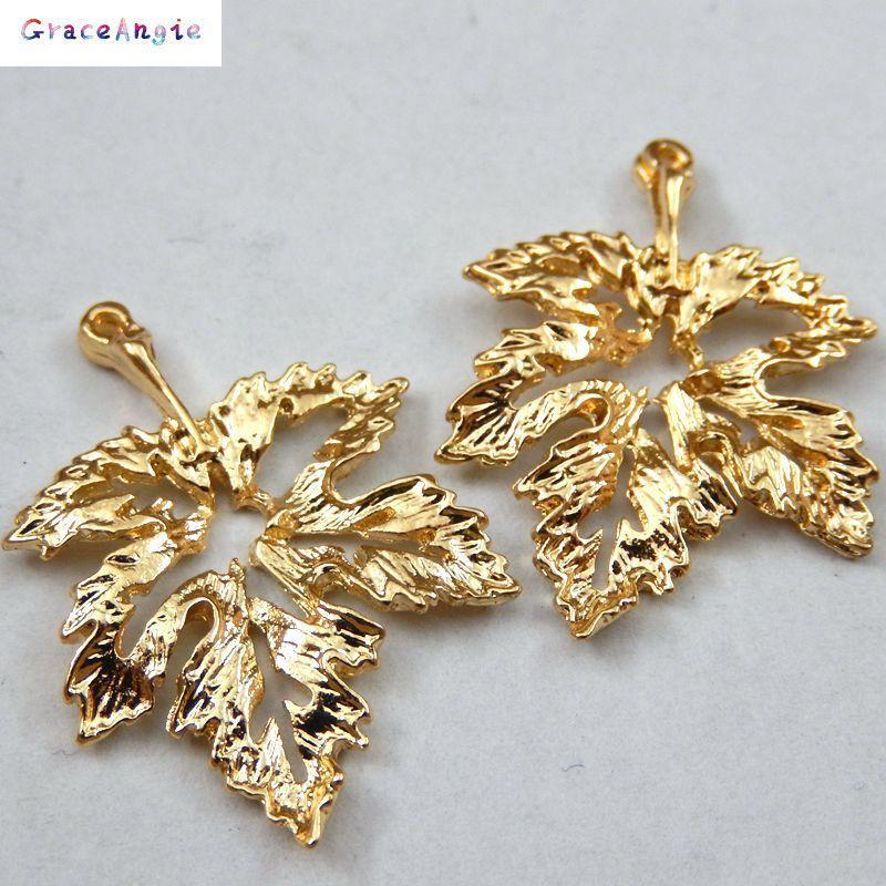15PCS Gold Tone Alloy Hollow Leaf Style