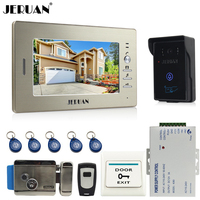 JERUAN 7 LCD Screen Video Intercom Video Door Phone Entry System 700TVL RFID Access Waterproof Camera