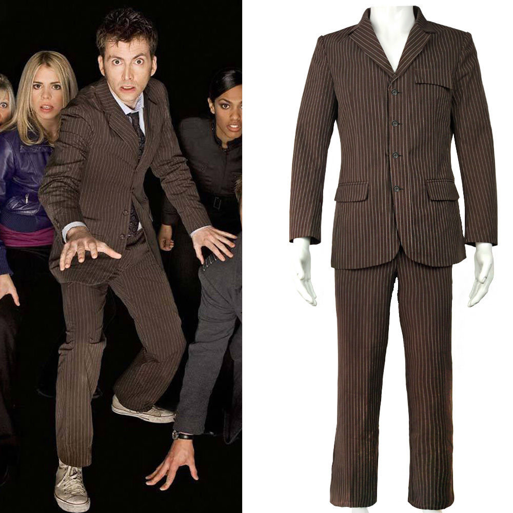 Who is Doctor Who Dr Brown Pinstripe Business Jacket Suit Cosplay Costume Men Halloween Party
