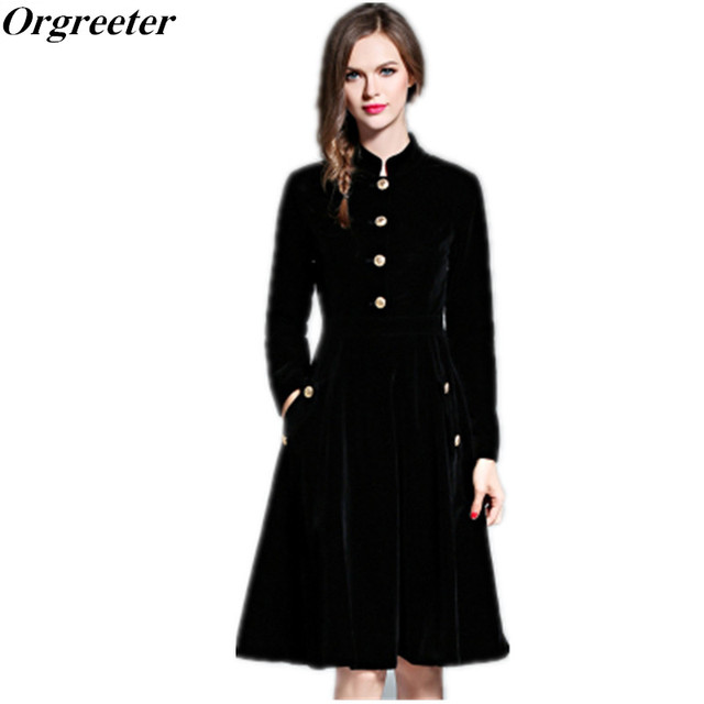 bef1f19527f Orgreeter élégant noir velours Robe Hiver femmes 2017 Vintage à manches  longues bureau travail robes Vestidos