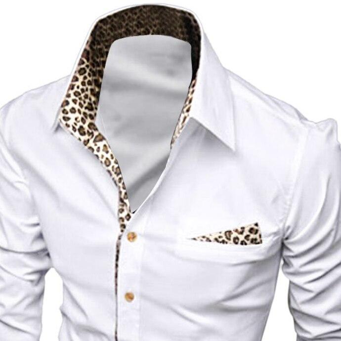 НОВЫЙ Человек Застегнутый Спереди Leopard Печать Декольте Стильный Повседневная Рубашка-Белый