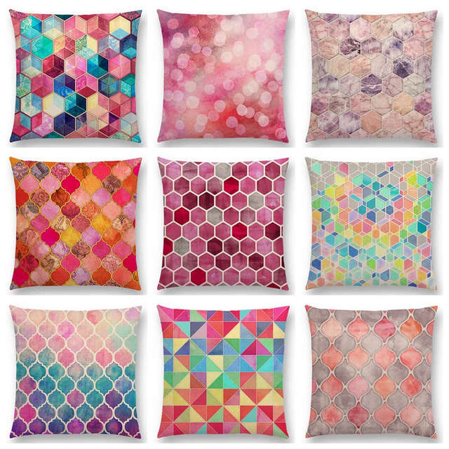 Hot Sale Gradient Rainbow Pastel Watercolor Moroccan Hexagon Pattern
