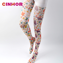 CINHOR Pantyhose Painting Print Tights Legin for Woman High Elastic Pantyhose Cotton Patterned Stockings Pink Personality Punk