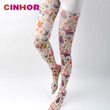 CINHOR pantimedias pintura imprimir medias legging para mujer alta elástico algodón Pantyhose patrón medias rosa Punk personalidad