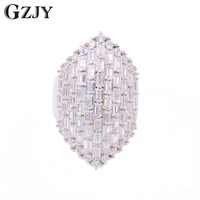 GZJY Simple Shining Zircon White Gold Color Wedding Ring For Women Ring Anniversary Party Jewelry