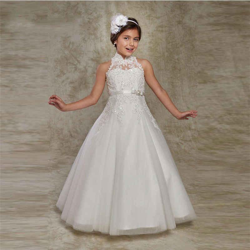 Белые Пышные Платья с цветочным узором для девочек; платья для первого причастия для девочек; Детские вечерние платья с аппликацией из бисера; Лидер продаж; vestido longo