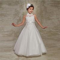 White Puffy Flower Girl Dresses First Communion Dresses for Girls Beaded Applique Kids Evening Gowns Hot Sale vestido longo