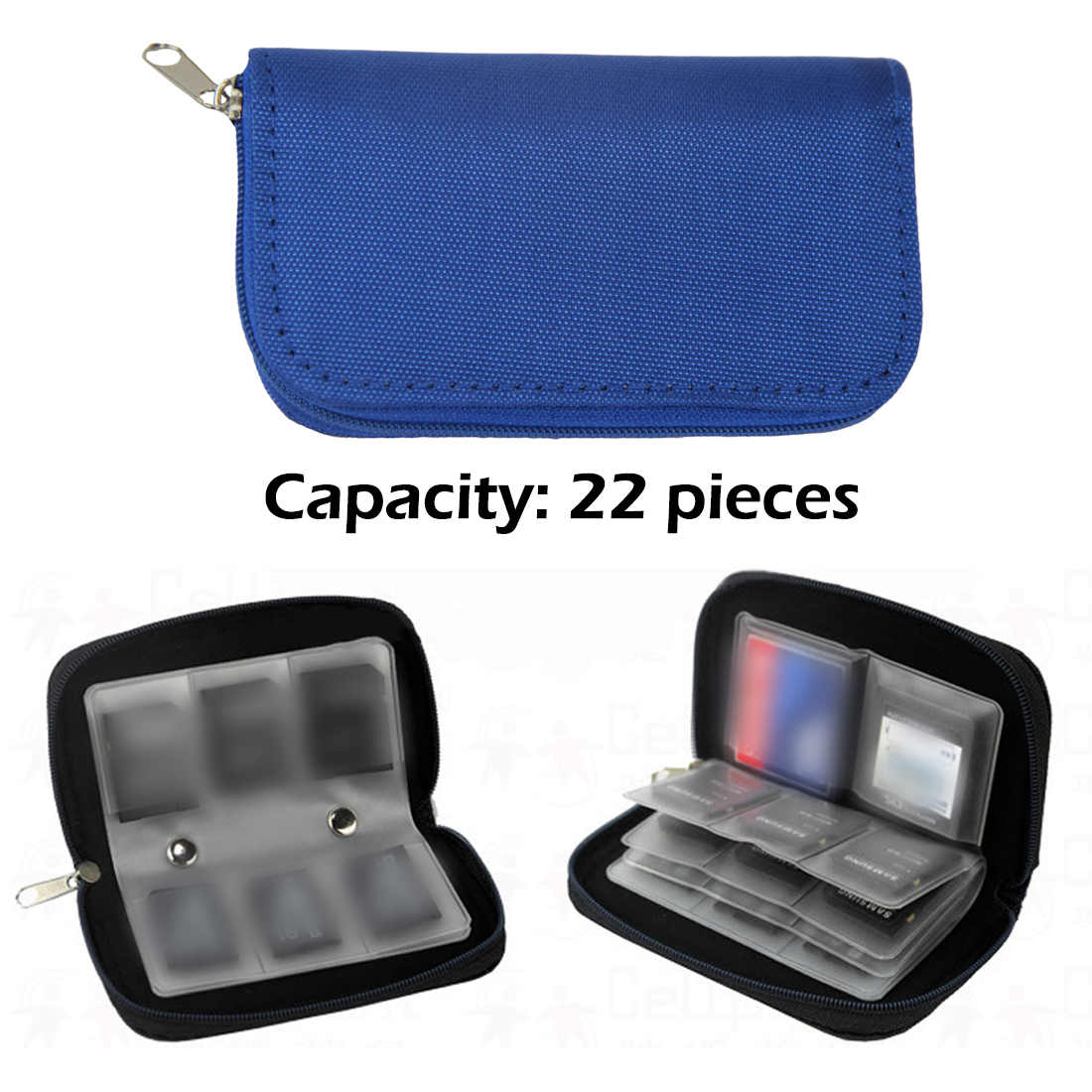 Blue Nylon SD SDHC MMC CF For Micro SD Memory Card Storage Carrying Pouch Bag Box Case Holder Protector Wallet