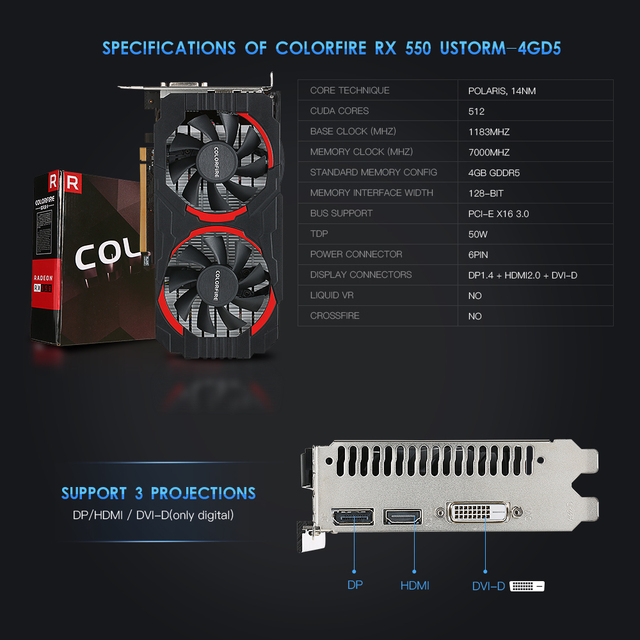 (Free Shipping) Colorfire RX 550 Ustorm-4GD5 4GB/128bit GDDR5 Gaming Cards Graphics Card DP+HDMI+DVI Port with 2 Cooling Fans 2