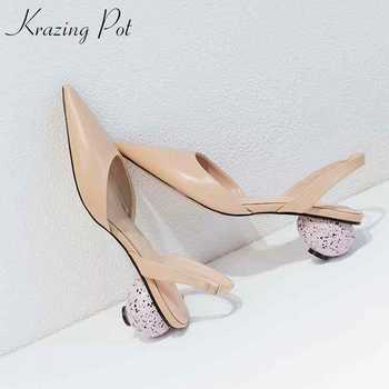 Krazing pot genuine leather sandals women strange circular heels pointed toe summer elastic band European creativity shoes  L10 - DISCOUNT ITEM  52% OFF All Category