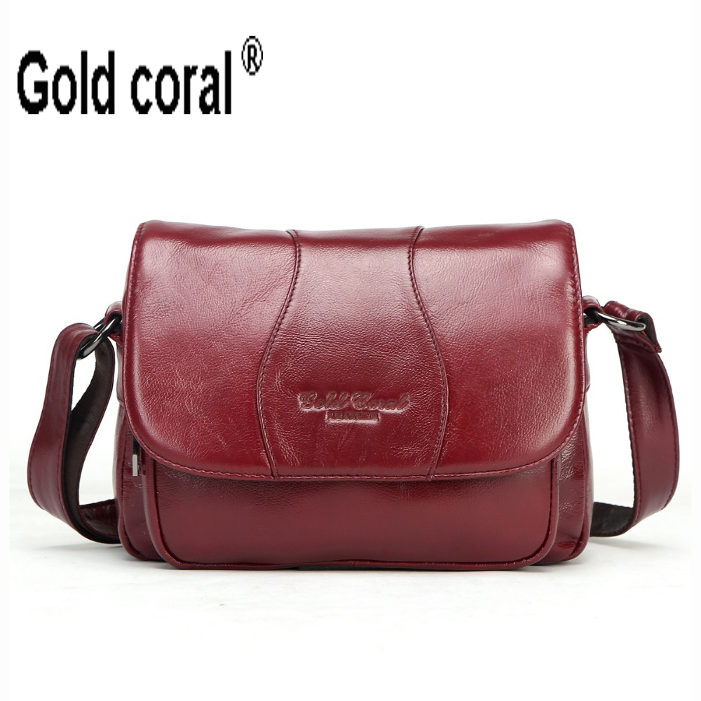 GOLD CORAL Genuine Leather Small Crossbody Bags For Women Messenger Bags Famous Designer Ladies Shoulder Bag Women's Handbags