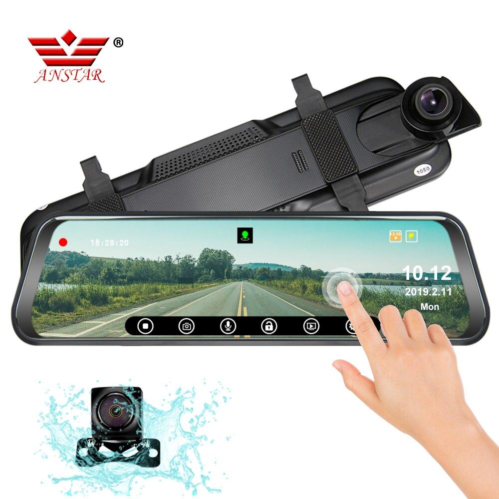 ANSTAR date voiture DVR Android miroir caméra Dash Cam 1080 P Dvr voiture Vision nocturne flux vue arrière miroir Dash Cam miroir enregistreur